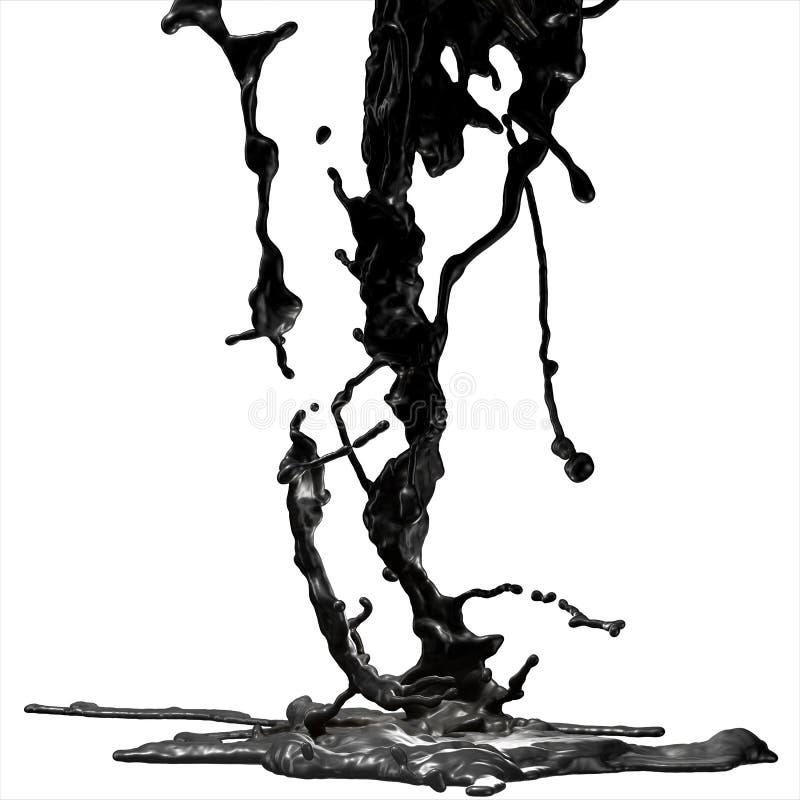 Splash of black fuel oil stock photography