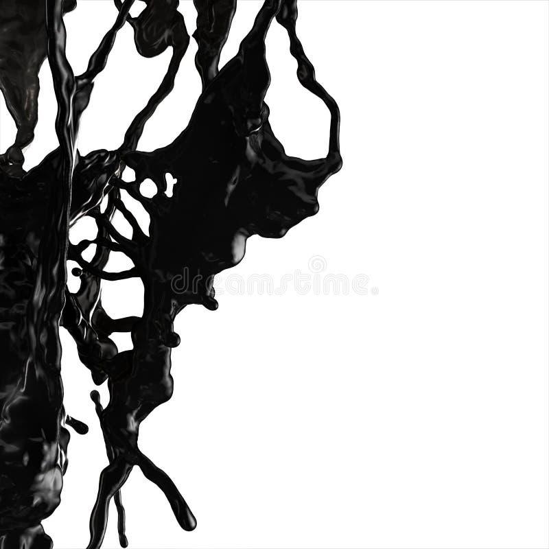 Splash of black fuel oil royalty free stock photography