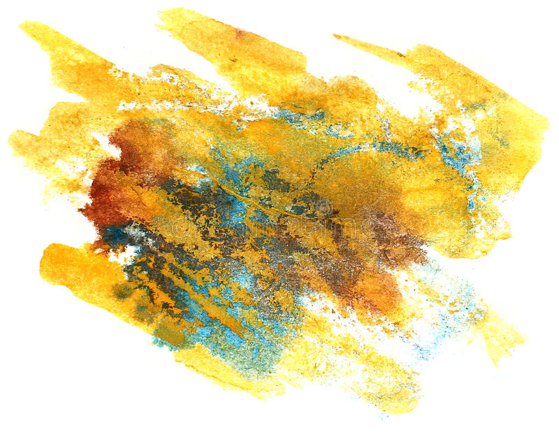Splash blue, yellow paint blot watercolour color water ink isola. Ted watercolor background stock photography