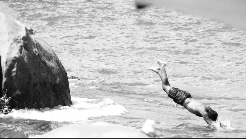 Splash in Calhetas' beach royalty free stock photos