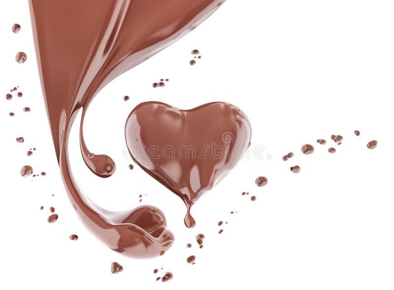 Splash chocolate abstract background, chocolate heart 3d rendering. Splash chocolate abstract background, chocolate heart isolated 3d rendering vector illustration
