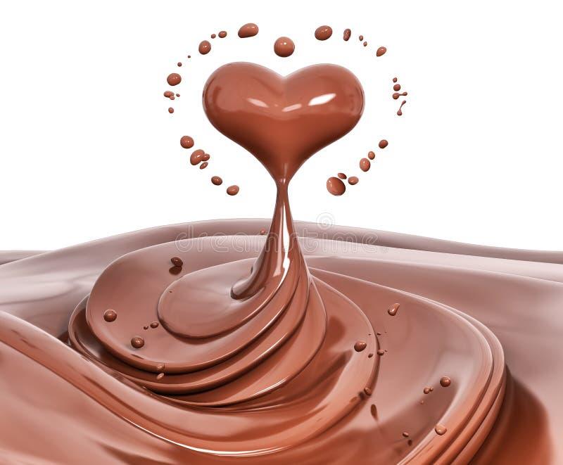 Splash chocolate abstract background, chocolate heart 3d rendering. Splash chocolate abstract background, chocolate heart isolated 3d rendering royalty free illustration