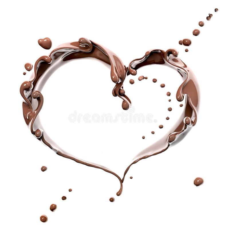 Splash of chocolate heart isolated 3d rendering. Splash of chocolate abstract background, chocolate heart isolated 3d rendering stock illustration