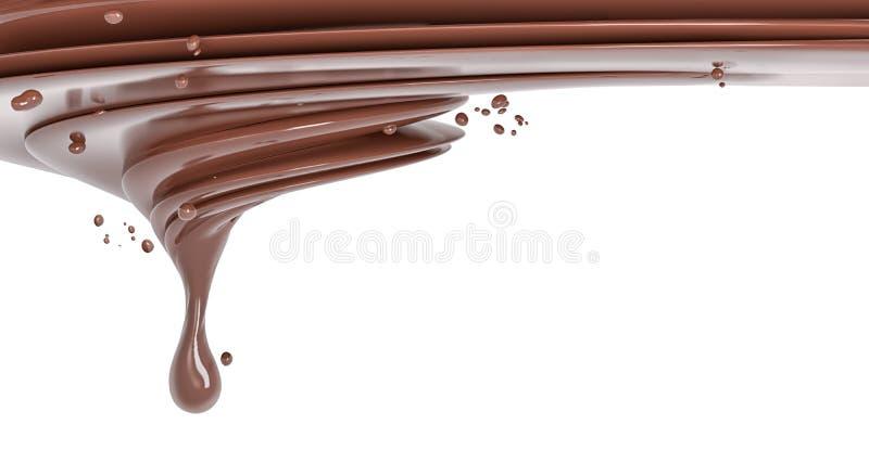 Splash chocolate isolated illustration 3d rendering. Splash chocolate isolated abstract background 3d rendering stock illustration