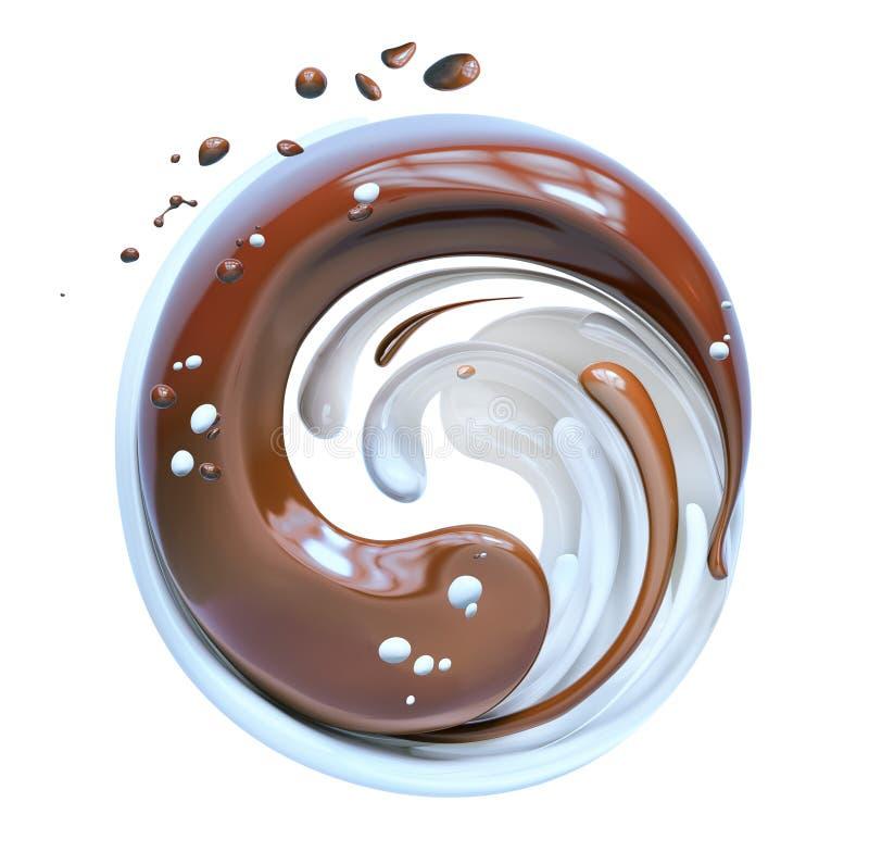Splash chocolate and milk, chocolate yin yang mix 3d rendering. Splash chocolate and milk, chocolate yin yang mix isolated 3d rendering royalty free illustration