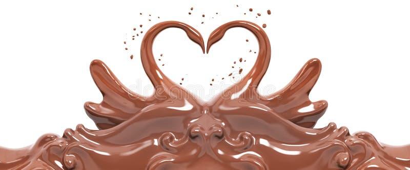 Splash chocolate swans isolated 3d rendering. Splash chocolate abstract background, chocolate swans isolated 3d rendering vector illustration