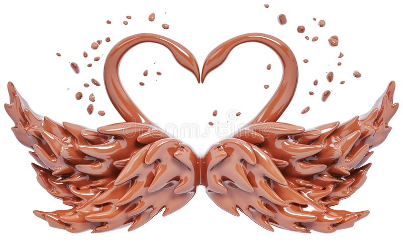 Splash chocolate swans isolated 3d rendering. Splash chocolate abstract background, chocolate swans isolated 3d rendering stock illustration
