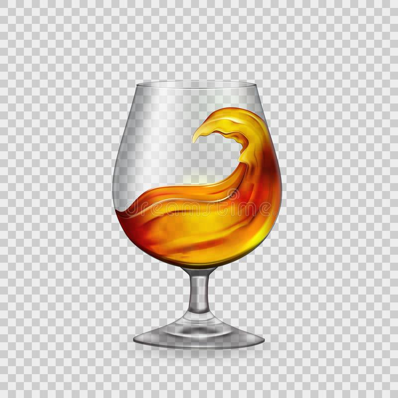 Splash cocktail, whiskey, brandy in a glass goblet, against the backdrop of transparency.Vector vector illustration