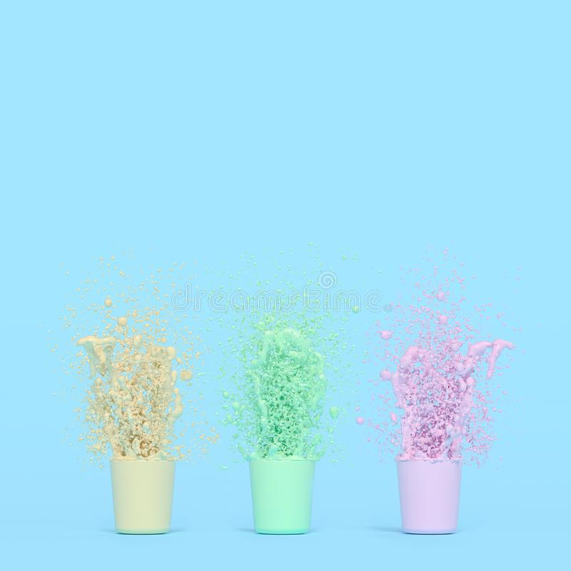 Splash of color in cup. Pink yellow green with copy space for your text. Pastel color concept, 3d render vector illustration