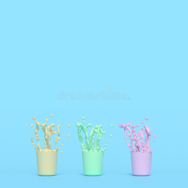 Splash of color in cup. Pink yellow green. Pastel color concept, 3d render stock illustration