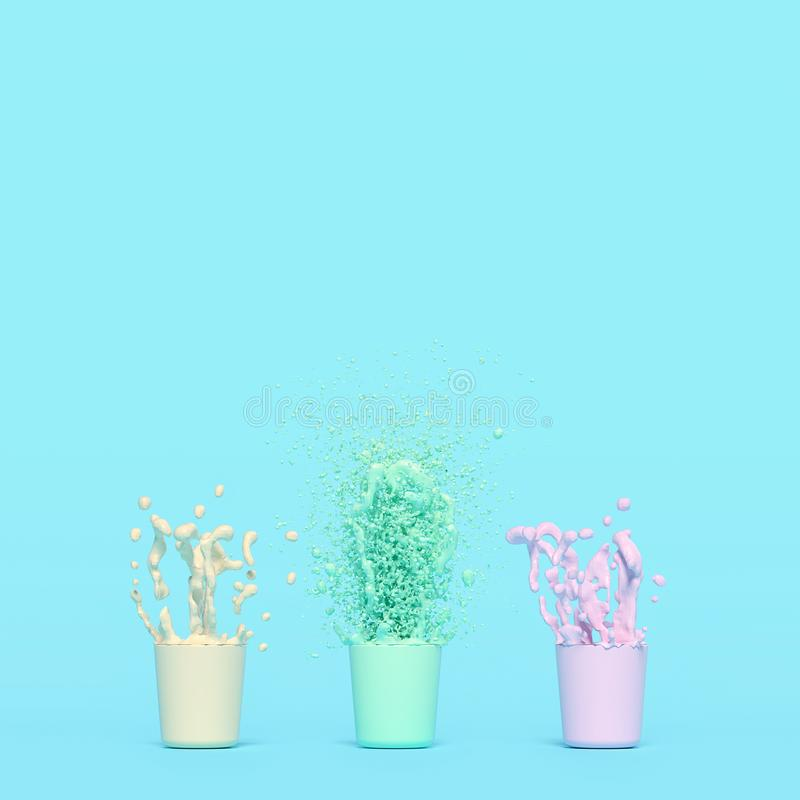 Splash of color in cup. Pink yellow green. Pastel color concept and vintage style, 3d render royalty free illustration