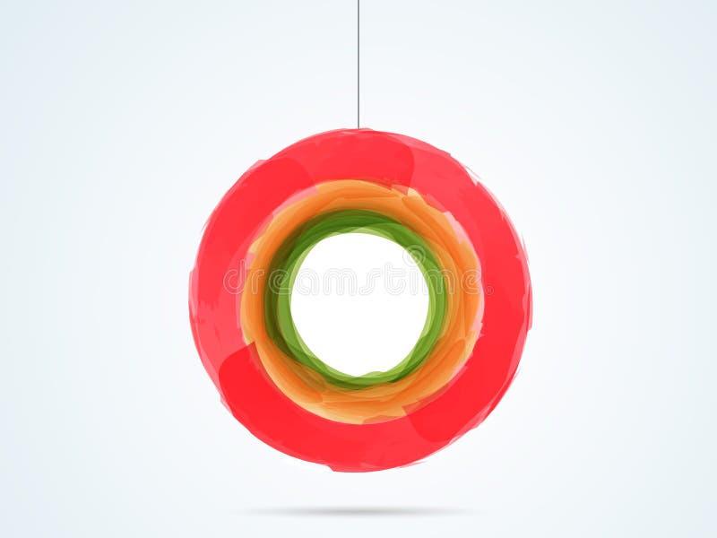 Splash color in hanging circle shape. Splash red, orange and green color in hanging circle shape on light shiny sky blue color background royalty free illustration