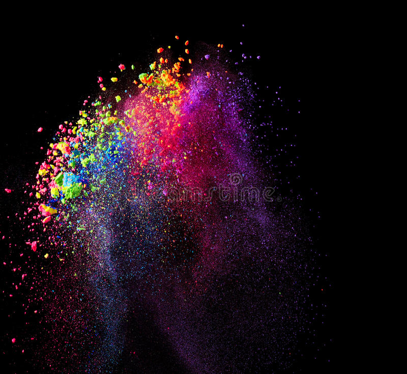 Splash of colorful paint. On black background royalty free stock photography