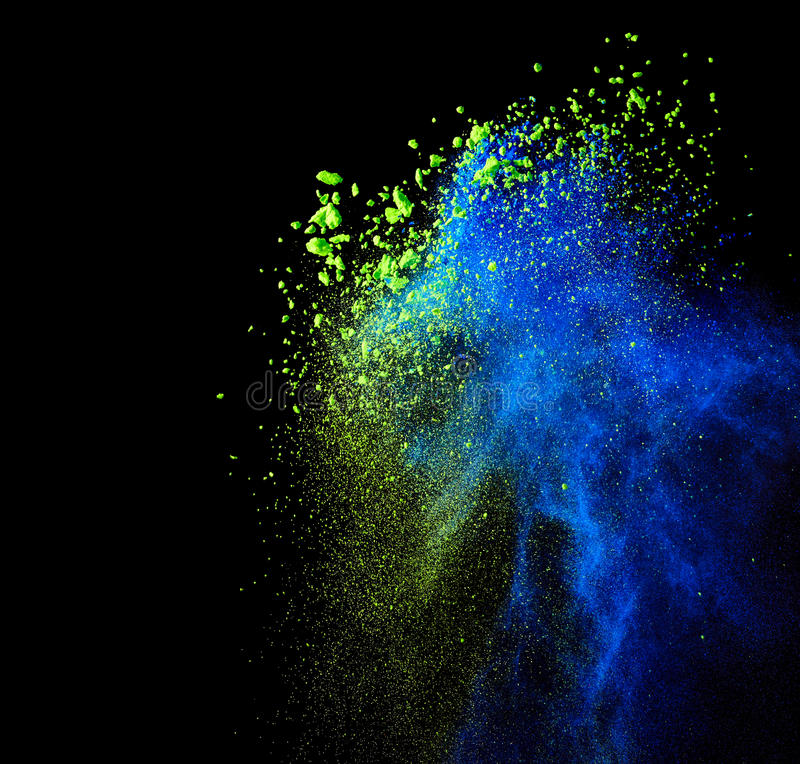 Splash of colourful powder. On black background stock photos