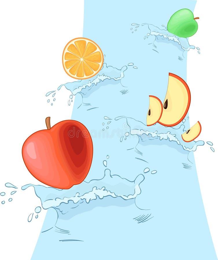 Splash flow with fruits. Splash flow with vector fruits stock illustration