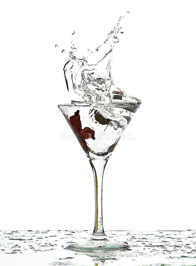 Splash of fluid in glass stock photography
