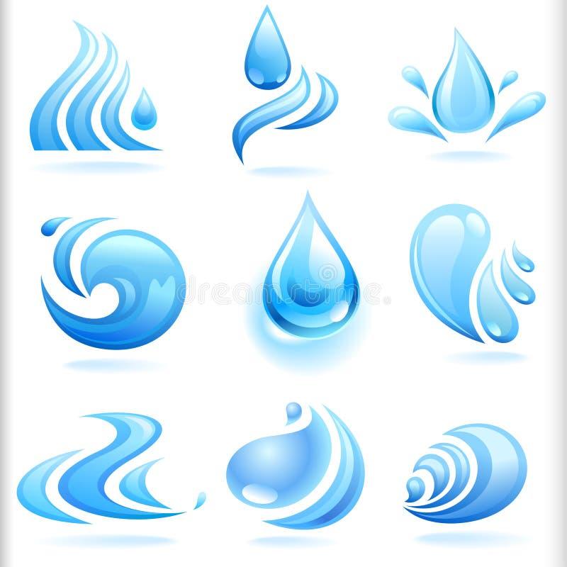 Splash of Fresh Blue Water Drops stock illustration