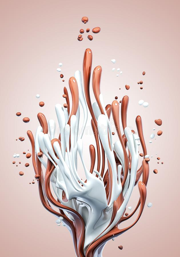Splash of hot chocolate and milk, isolated 3d rendering. Splash of hot chocolate and milk abstract background, isolated 3d rendering stock illustration