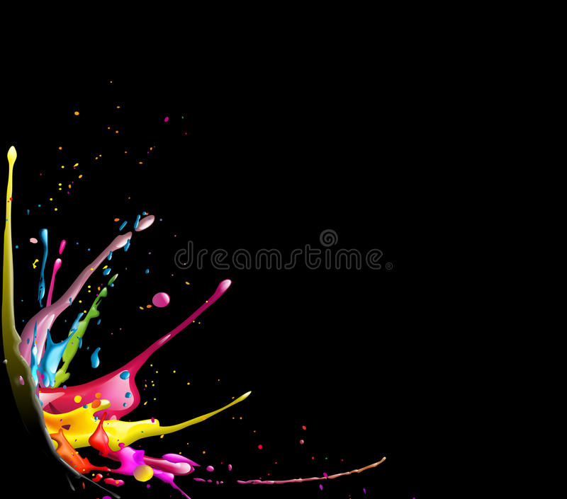 Splash. Illustration of a cmyk color splash on black background royalty free illustration