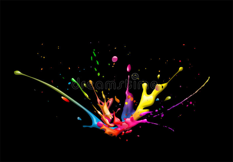 Splash. Illustration of a cmyk color splash on black background stock illustration