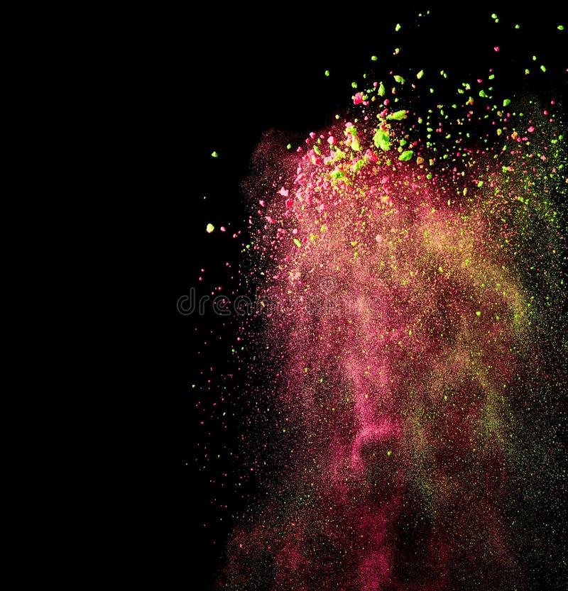 Splash of indian holi paint. On black background stock photos