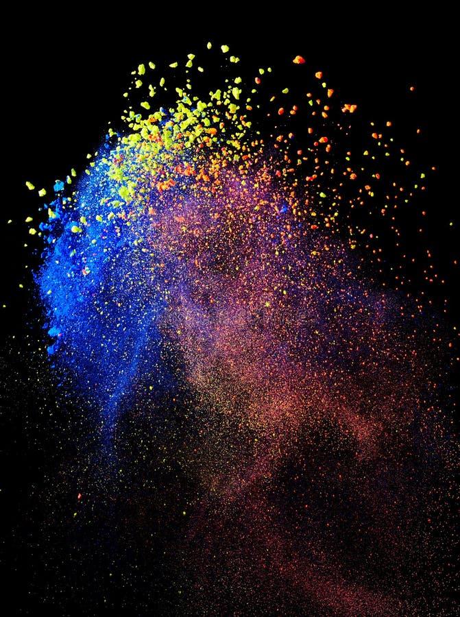 Splash of indian holi paint. On black background stock photo