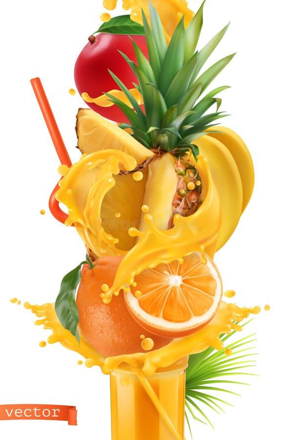 Splash of juice and sweet tropical fruits. Mango, banana, pineapple, papaya and orange. 3d vector. Splash of juice and sweet tropical fruits. Mango, banana vector illustration