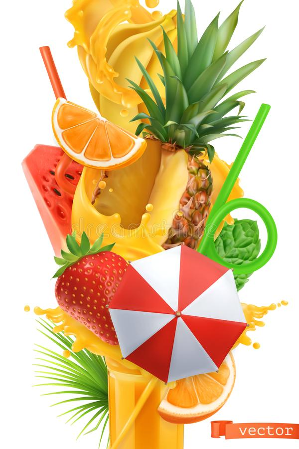 Splash of juice and sweet tropical fruits. Summer cocktail 3d vector vector illustration