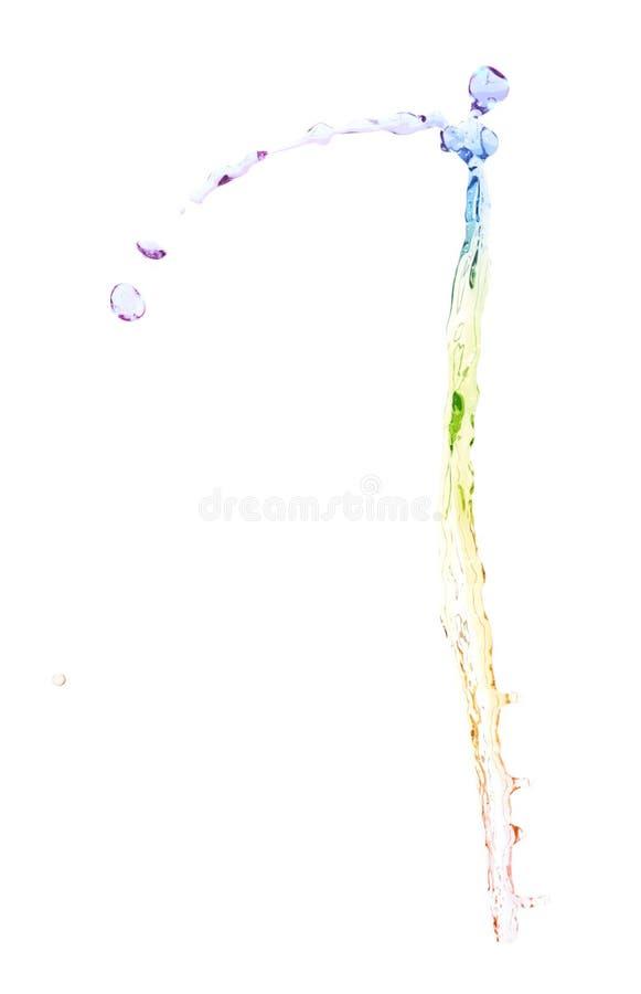 Splash of liquid in motion isolated. Splash of multi-colored rainbow liquid in motion isolated over the white background stock photography