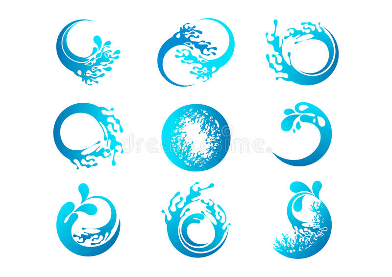 Splash logo, wave symbol, water concept design. Splash logo, wave symbol and water concept design in a set stock illustration