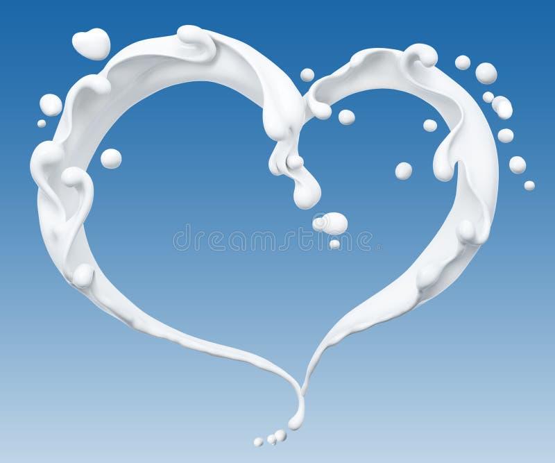 Splash of milk ,milk heart isolated 3d rendering. Splash of milk abstract background, milk heart isolated 3d rendering royalty free illustration