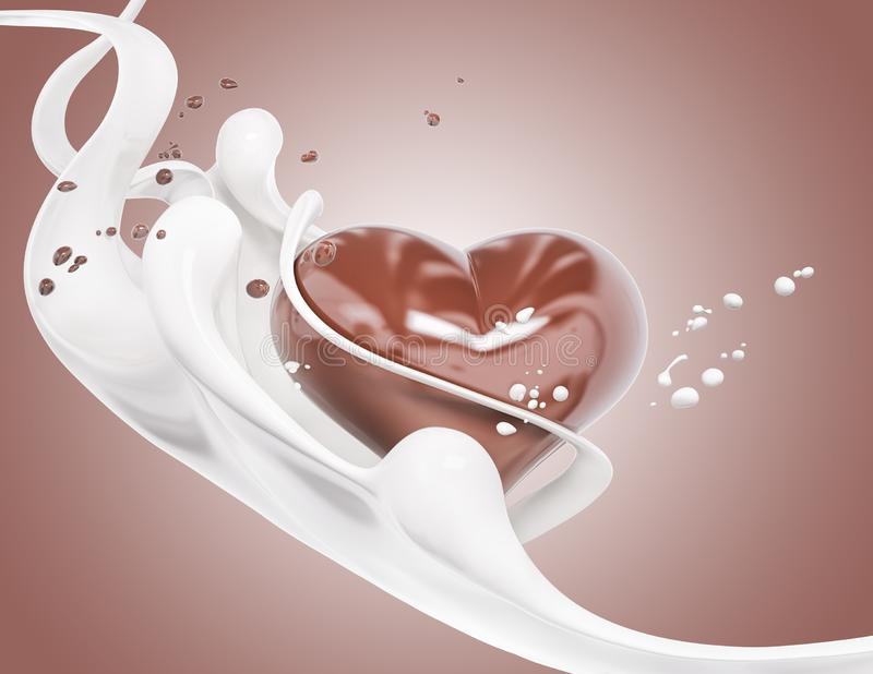 Splash milk and chocolate abstract background, chocolate heart 3d rendering. Splash milk and chocolate abstract background, chocolate heart isolated 3d rendering vector illustration