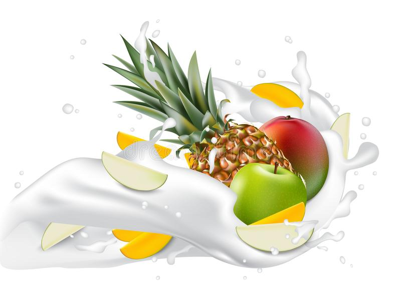 Splash of milk. Mango, apple and pineapple. 3d realistic vector. EPS 10. Packaging template. Brand advertising. Apple and mango slices flowing in the splashing vector illustration