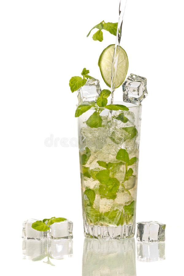 Splash in mojito cocktail with ice stock photos