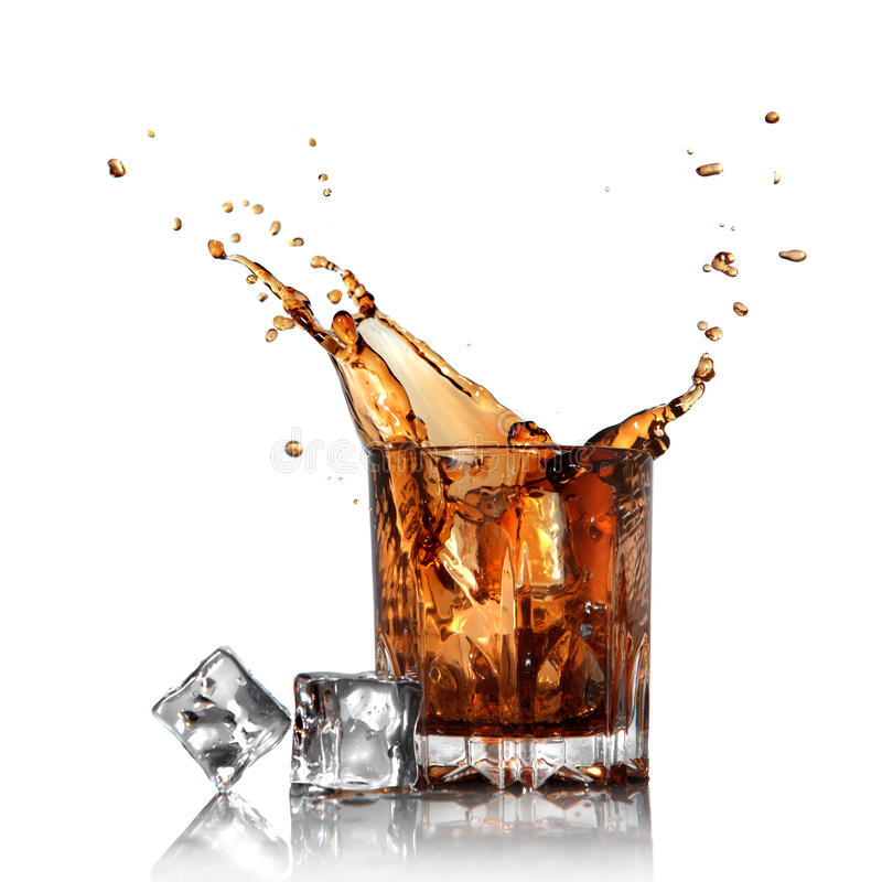 Free Splash Of Cola In Glass With Ice Cubes Isolated Stock Image - 20060211