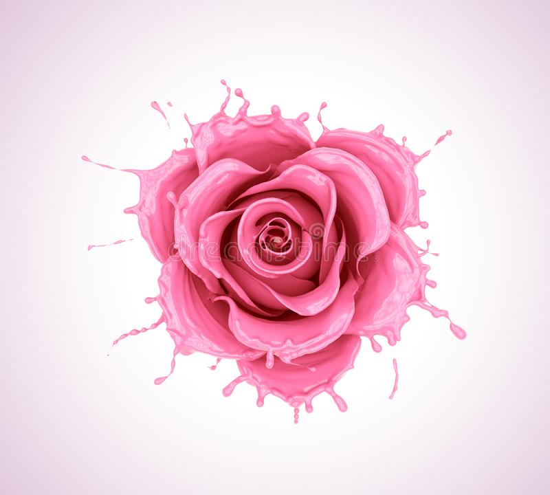Free Splash Of Juice Or Yogurt Flower Rose Royalty Free Stock Image - 101068896