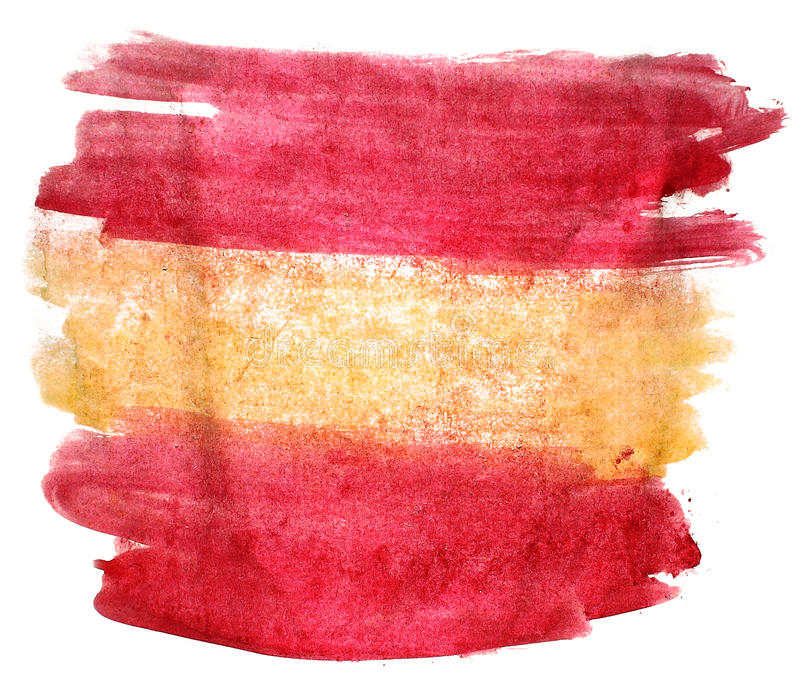 Splash paint blot yellow, red spain, flag watercolour color wate. R ink isolated watercolor background vector illustration