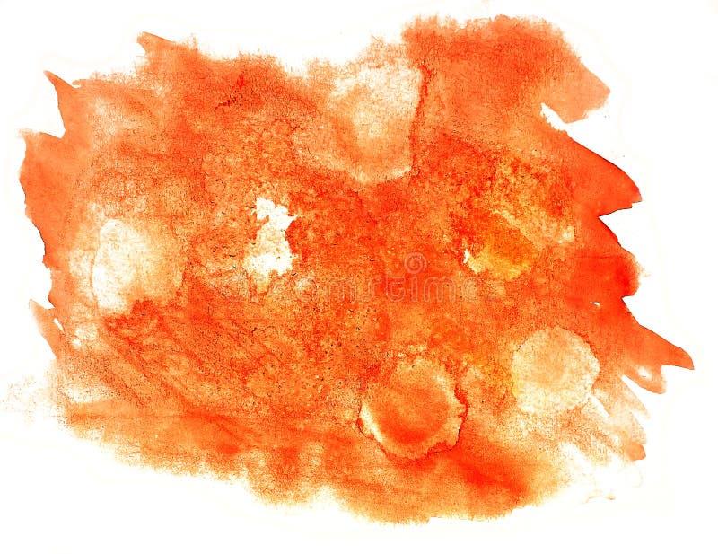 Splash paint orange blot watercolour color water ink isolated wa. Tercolor background stock illustration