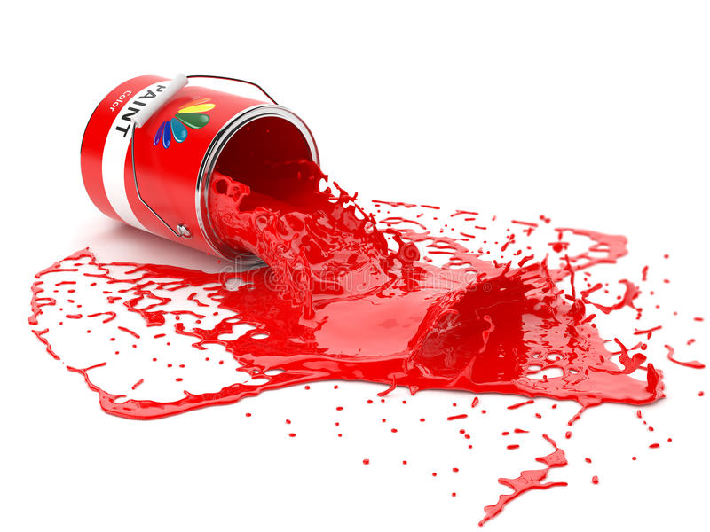 Splash of red paint in can. On white background vector illustration
