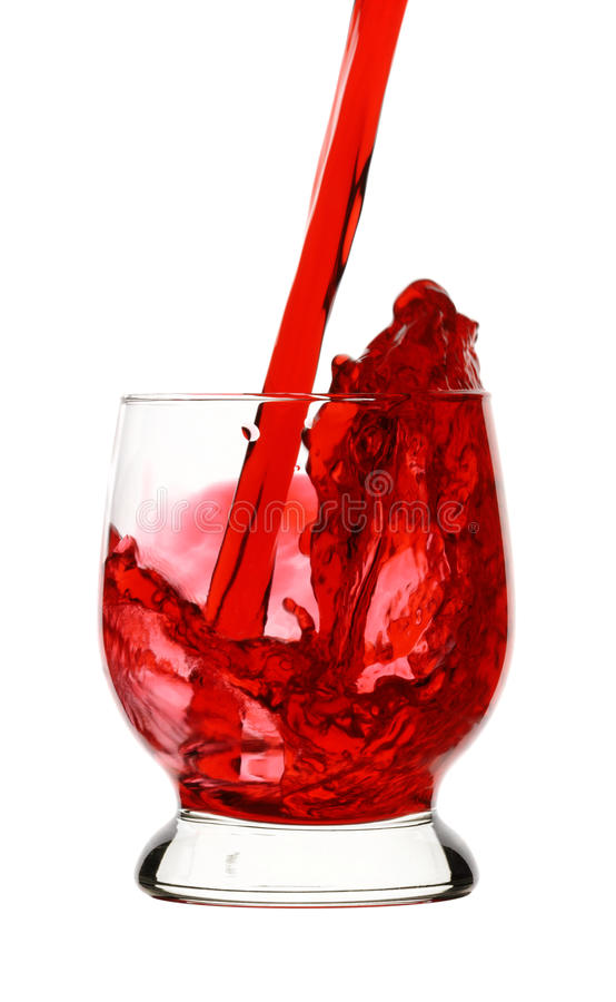 Splash, Red Wine Is Being Poured Into Glass, Royalty Free Stock Image