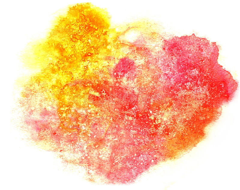 Splash red, yellow paint blot watercolour color water ink isolat. Ed watercolor background royalty free illustration