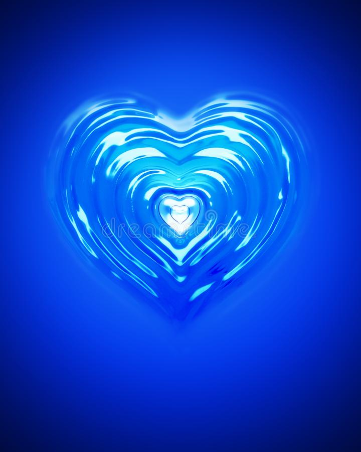 Splash ripple of liquid blue water in form of heart shape. Design creative concept of drink for valentine day or love. royalty free illustration