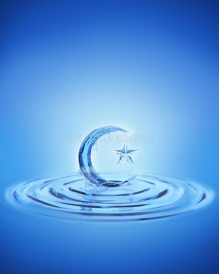 Splash ripple of liquid fresh blue water in form of crescent moon and star. stock images