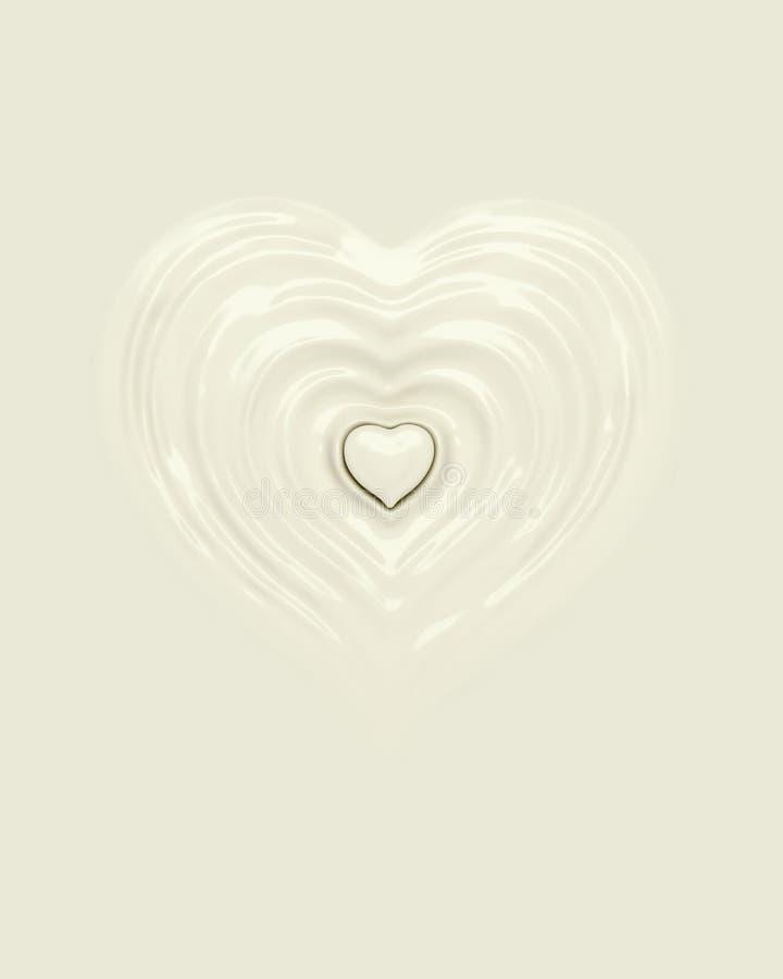 Splash ripple of liquid white milk cream yogurt in form of heart shape. Design creative concept of drink for valentine day or love, 3d rendering illustration vector illustration