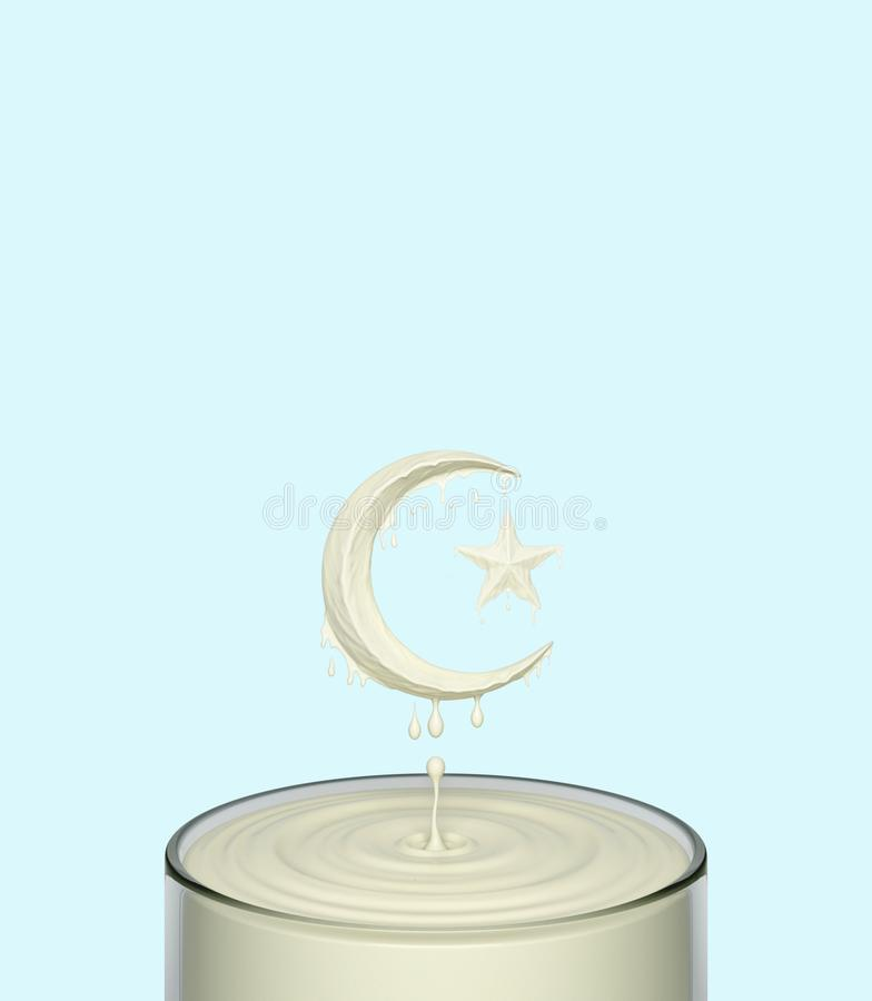 Splash ripple of liquid white milk yogurt cream in form of crescent moon and star in a glass. stock illustration