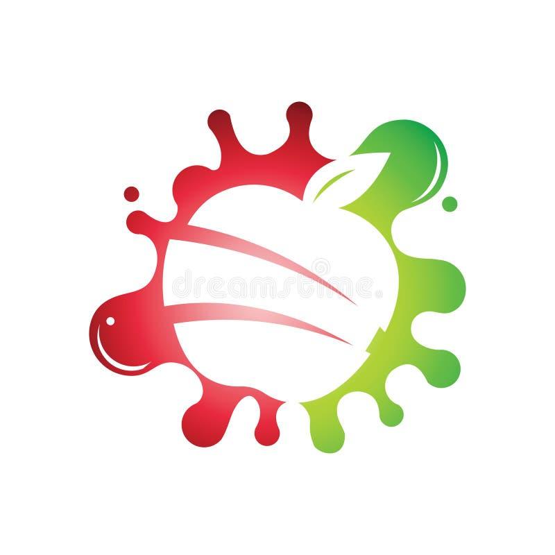 Splash Sliced Apple Juice Pulp Extract Fruit Logo.  vector illustration