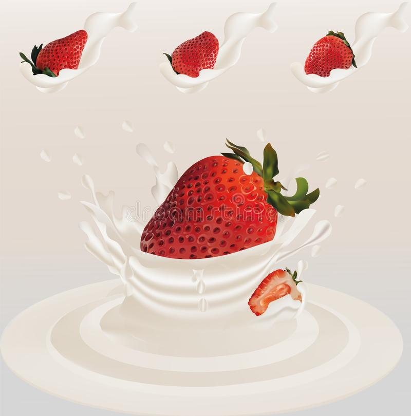 Splash strawberry in milk realistic 3d vector. Raw strawberry fruit. Whole and slice strawberry with splashes milk vector illustration
