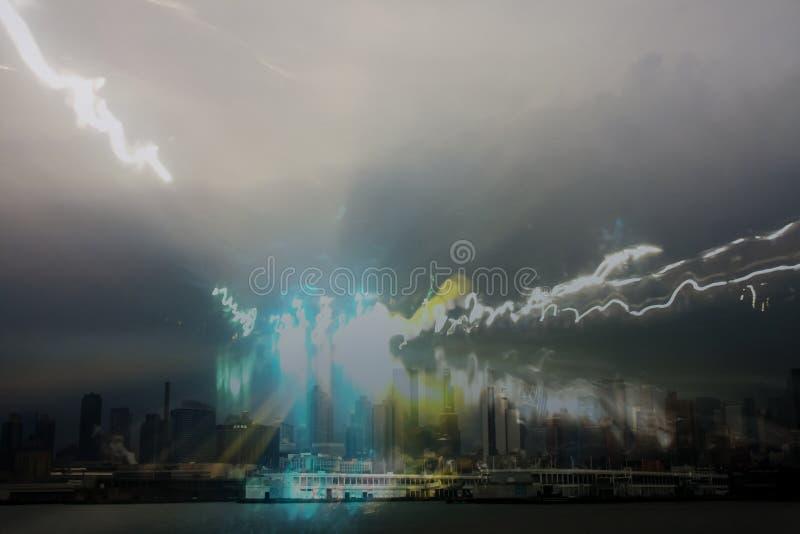 Splash van licht over stad royalty-vrije stock fotografie