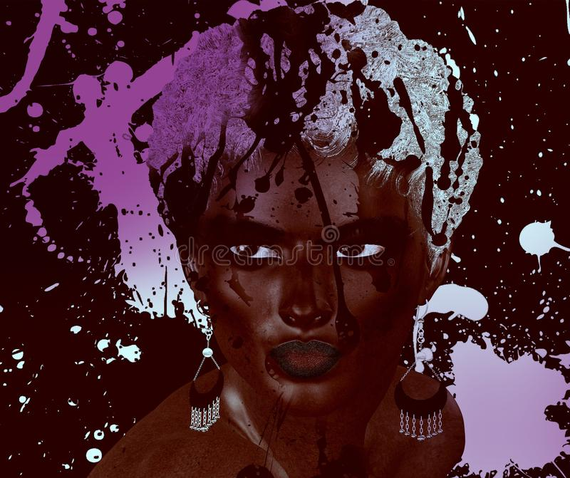 Beautiful black woman with Splashed purple and white paint. Splashed purple and white paint create a modern art scene for this realistic 3d render of a