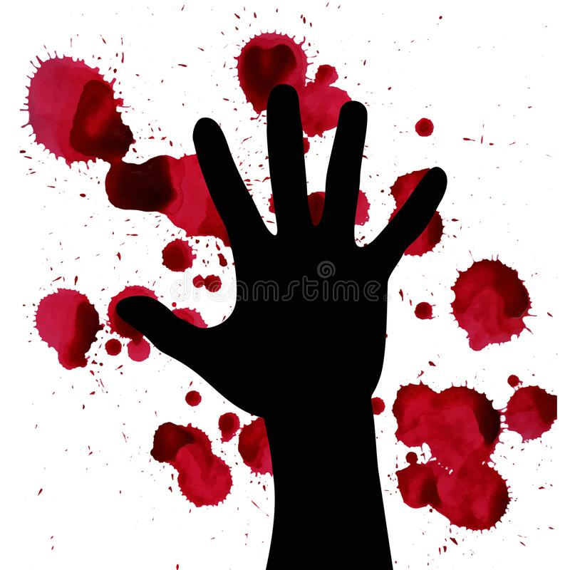 Splashes of blood and hand black silhouette. may illustrate the theme of violence, terrorism and war. royalty free illustration
